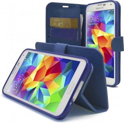 Smart Cover Galaxy S5 Folio Skin Texture Blue
