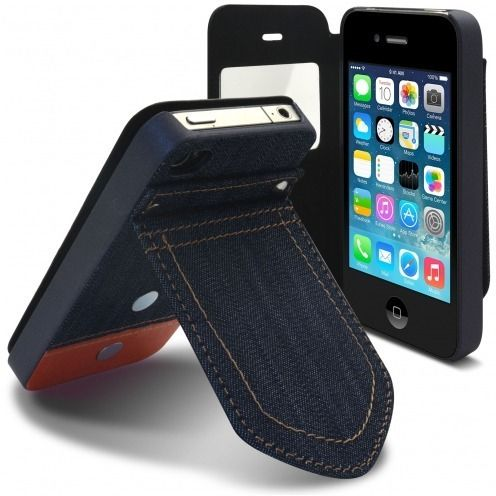 Folio case for iPhone 4/4S Jeans Pocket with Stand Orange