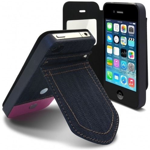 Folio case for iPhone 4/4S Jeans Pocket with Stand Pink