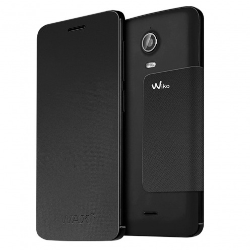 Original Wiko® Folio Stand Back Cover Black for Wiko Wax