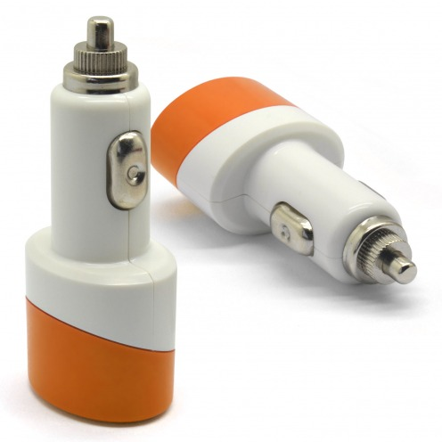Mini Dual USB car charger 2.1A + 1A Color Series Orange