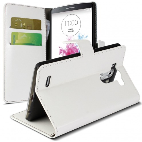Folio Wallet Case for LG G3 Veined White Leatherette