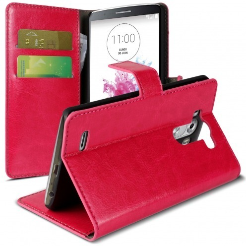 Folio Wallet Case for LG G3 Veined Fuchsia Leatherette