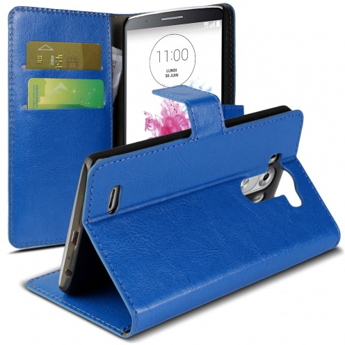 Folio Wallet Case for LG G3 Veined Indigo Blue Leatherette