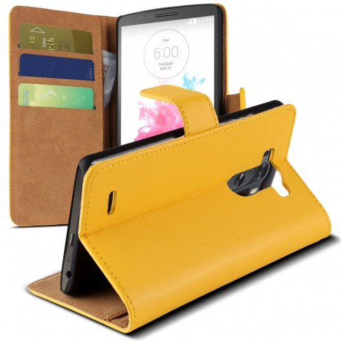 Eco Leather Folio Wallet Case for LG G3 - Yellow