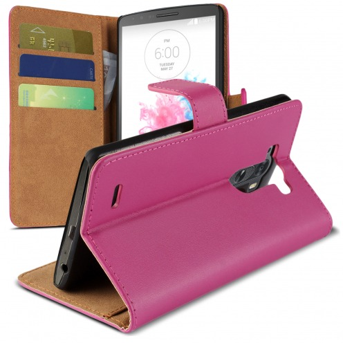 Eco Leather Folio Wallet Case for LG G3 - Fuchsia