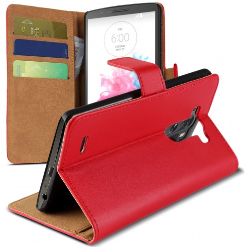 Eco Leather Folio Wallet Case for LG G3 - Red