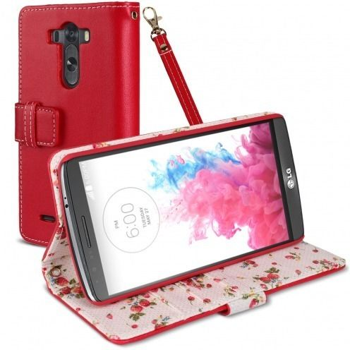 Country Floral Folio Wallet Case for LG G3 - Red