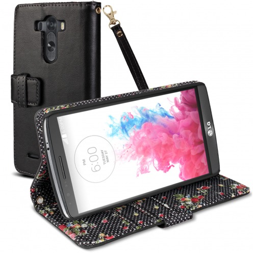 Country Floral Folio Wallet Case for LG G3 - Black
