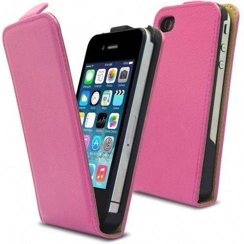 Full grain PU leather flip case pink iPhone 4 S / 4