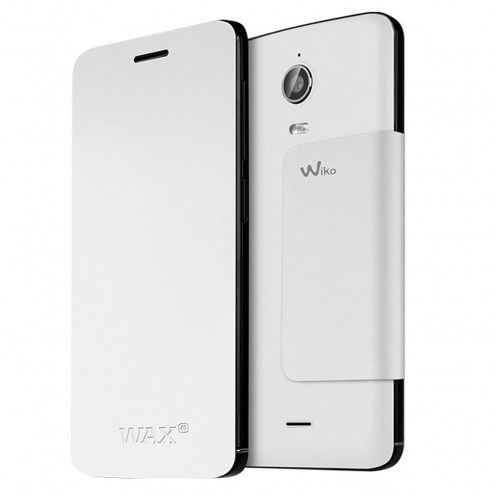 Original Wiko® Folio Stand Back Cover White for Wiko Wax