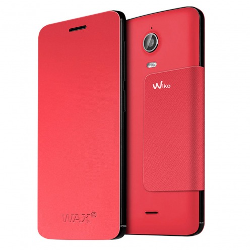 Original Wiko® Folio Stand Back Cover Coral for Wiko Wax