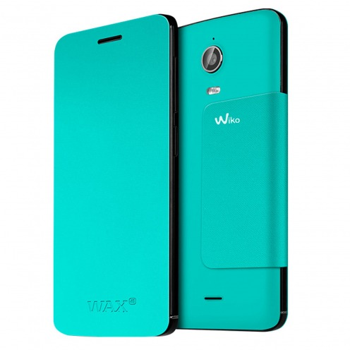 Original Wiko® Folio Stand Back Cover Turquoise for Wiko Wax