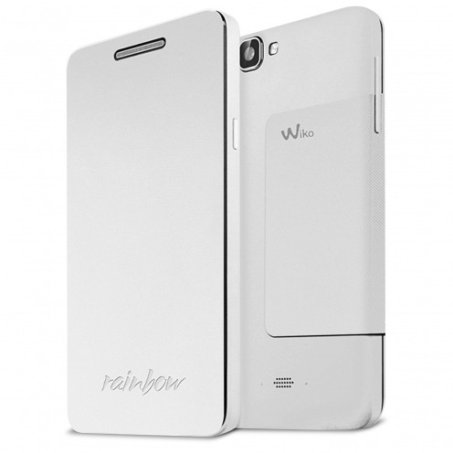 Original Wiko® Folio Stand Back Cover White for Wiko Rainbow