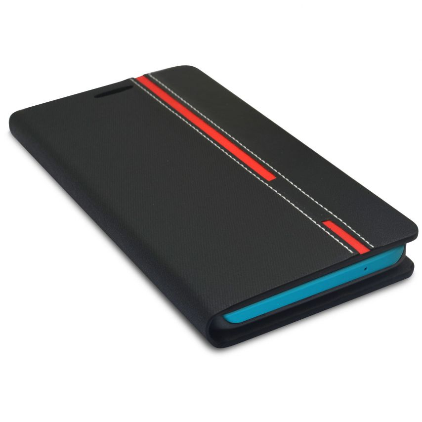 Monte Carlo Slim Folio Case Fabric Eco leather For Wiko Rainbow Black/Red
