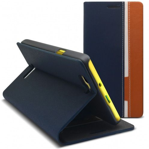 Monte Carlo Slim Folio Case Fabric Eco leather For Wiko Rainbow Navy Blue/Beige