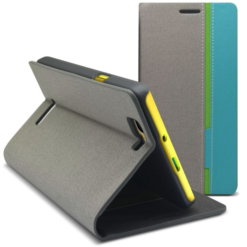 Monte Carlo Slim Folio Case Fabric Eco leather For Wiko Rainbow Grey/Turquoise