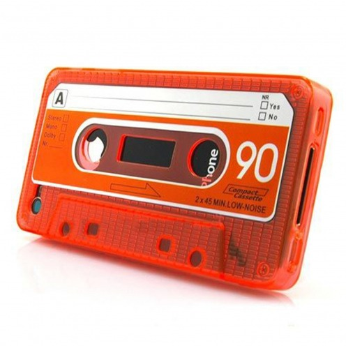 "Cassette Design ""TAPE"" Case TPU orange iPhone 4 s / 4"