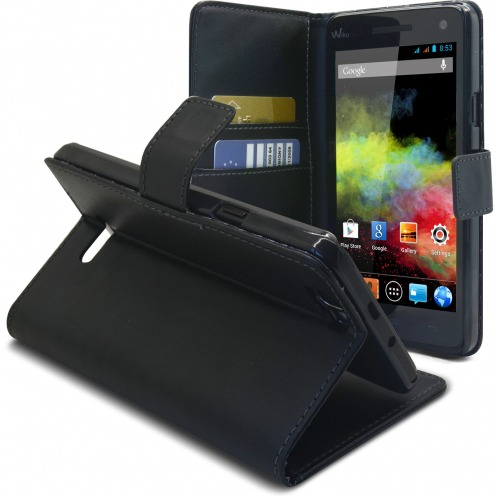 Folio Wallet Case for Wiko Rainbow Leather Crust Black