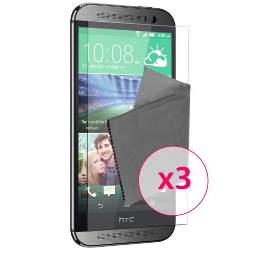 Pack of 3 Anti-Fingerprints Screen protector for HTC One M8 Clubcase ®