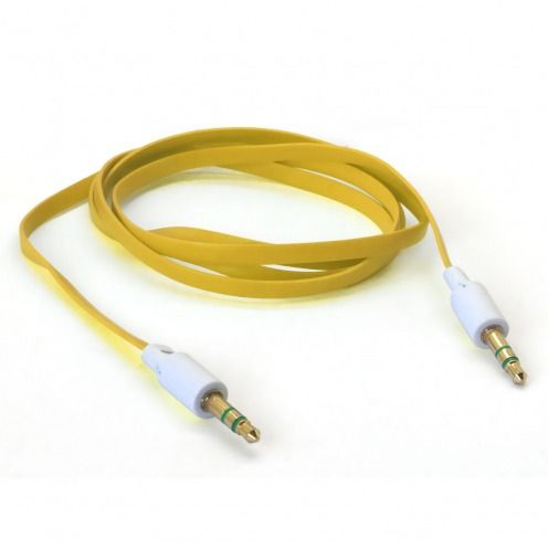 Jack to Jack 3.5 mm Stereo Flat audio cable - Male to Male - Yellow