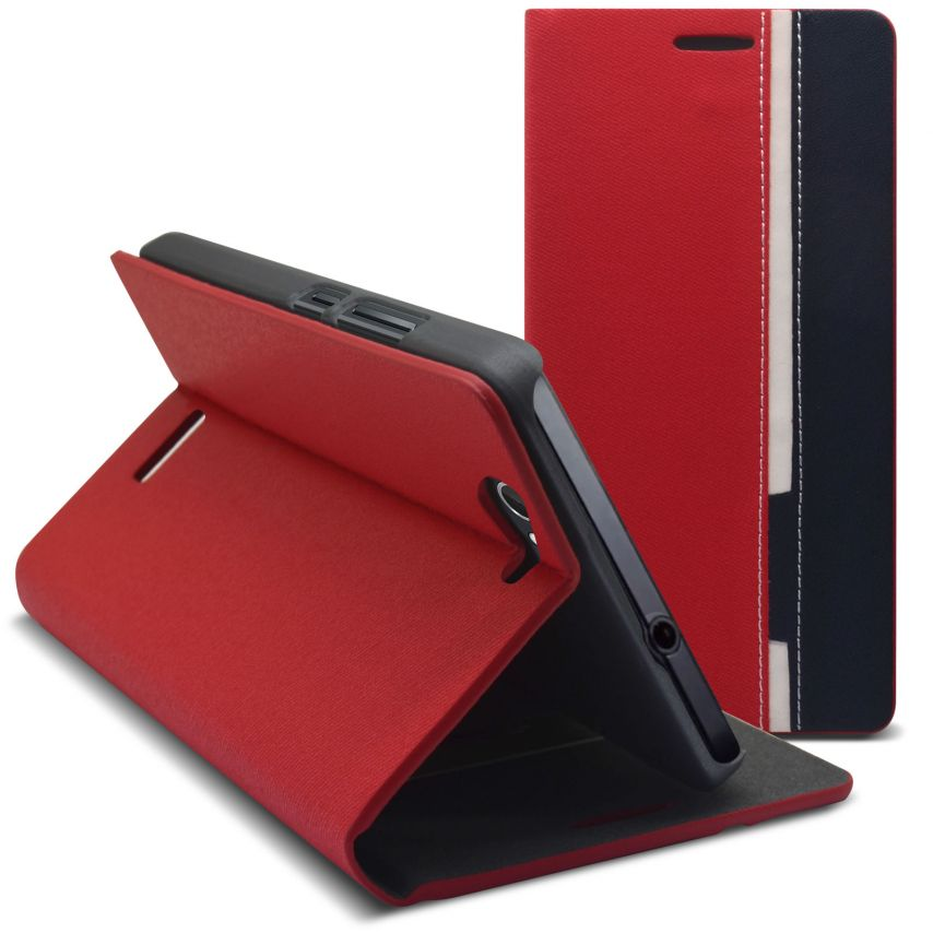 Monte Carlo Slim Folio Case Fabric Eco leather For Wiko Getaway Red/Blue