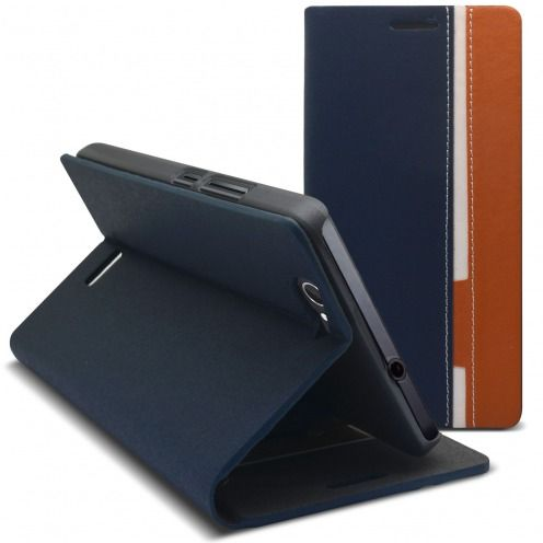 Monte Carlo Slim Folio Case Fabric Eco leather For Wiko Getaway Navy Blue/Beige