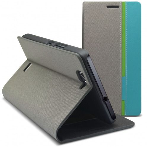 Monte Carlo Slim Folio Case Fabric Eco leather For Wiko Getaway Grey/Turquoise