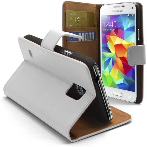 Eco Leather Folio Wallet Case for Galaxy S5 Mini - White