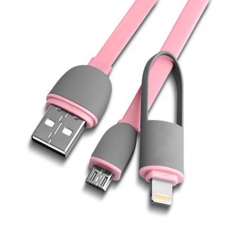 Pink USB 2.0 Data Cable Smartconnect 2 in 1 Micro USB/Lightning 1 M