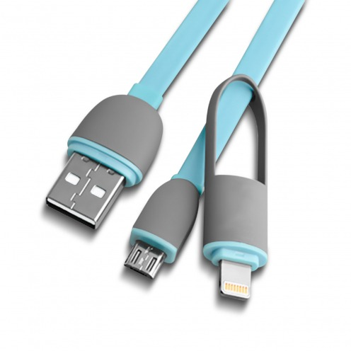 Blue Data Cable 2 in 1 USB to micro USB/Lightning 1 M