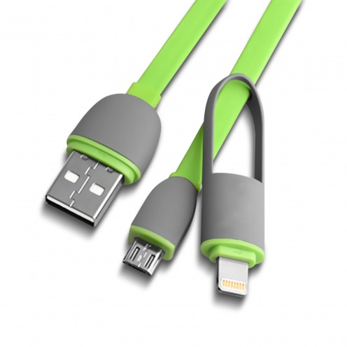 Green Data Cable 2 in 1 USB to micro USB/Lightning 1 M