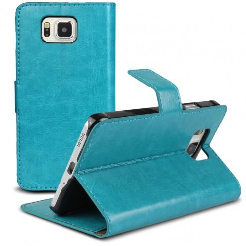 Smart Cover Galaxy Alpha Blue marbled Leatherette