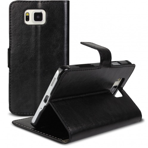 Smart Cover Galaxy Alpha Black marbled Leatherette