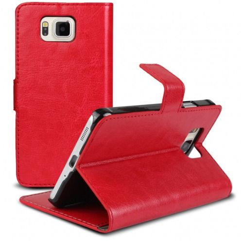 Smart Cover Galaxy Alpha Red marbled Leatherette