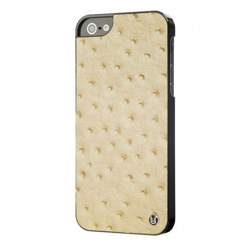 Uunique® Case Genuine Leathe Slimline Ostrich Tan for iPhone 5/5S