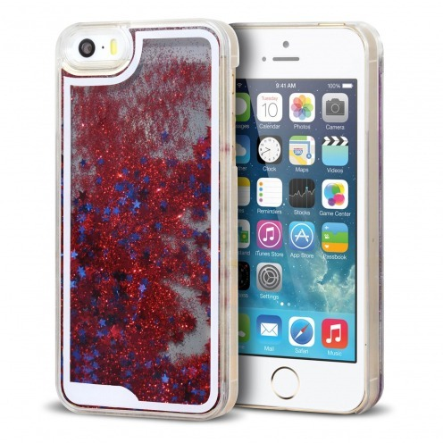 Crystal Liquid Glitter Diamonds case for iPhone 5/5S Red