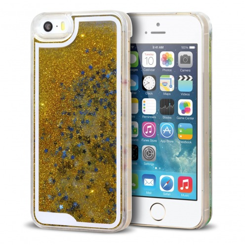 Crystal Liquid Glitter Diamonds case for iPhone 5/5S Gold