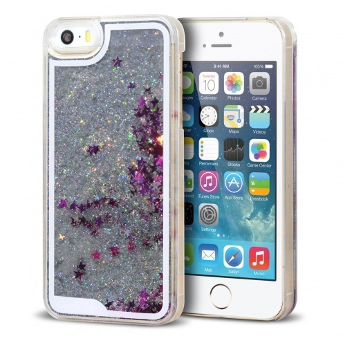 Crystal Liquid Glitter Diamonds case for iPhone 5/5S Silver