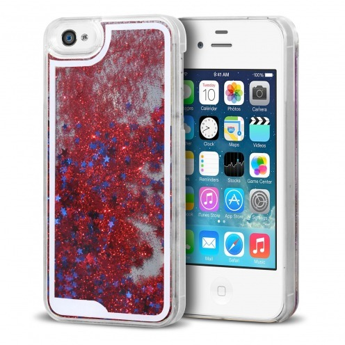 Crystal Liquid Glitter Diamonds case for iPhone 4/4S Red