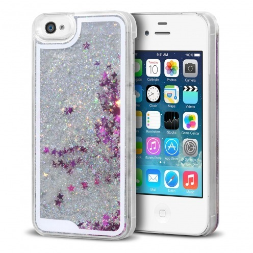 Crystal Liquid Glitter Diamonds case for iPhone 4/4S Silver