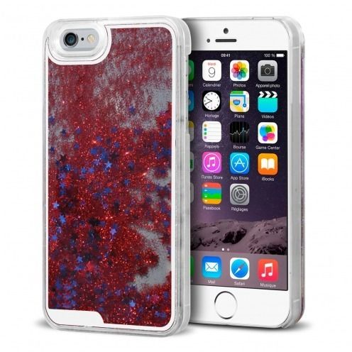 Crystal Liquid Glitter Diamonds case for iPhone 6 Red