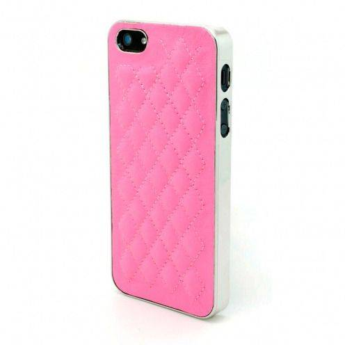 iPhone 5S / 5 case DELUXE Chrome & braided leather pink