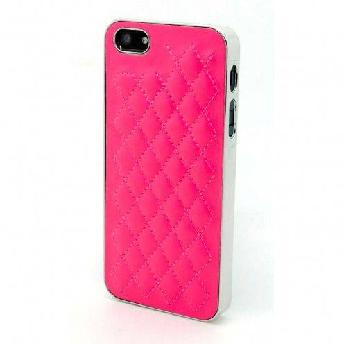iPhone 5S / 5 case DELUXE Chrome & braided leather fushia