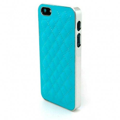 iPhone 5S / 5 case DELUXE Chrome & braided leather blue