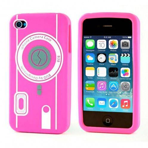 Silicone Camera Design case Pink iPhone 4S / 4