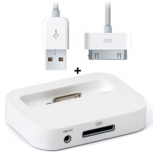 Charge sync & audio Dock for iPod iPhone 3 G / iPhone 4 / 4s Glossy White