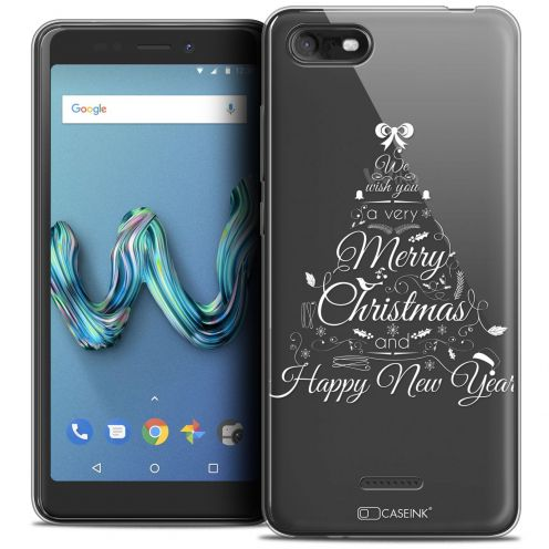 "Extra Slim Crystal Gel Wiko Tommy 3 (5.45"") Case Noël 2017 Calligraphie"
