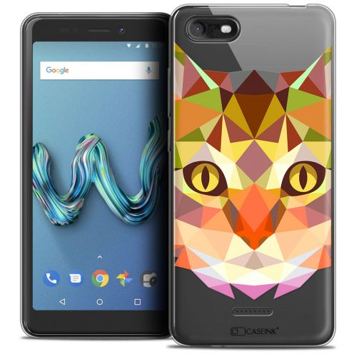 """Extra Slim Crystal Gel Wiko Tommy 3 (5.45"""") Case Polygon Animals Cat"""