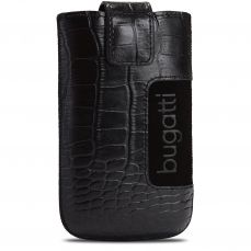 Bugatti® Genuine Leather Pouch SlimCase Croco Size M 73x122mm Black